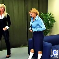 Sarah has disobeyed the rules one too many times and is called into the headmistress` office for a good whipping