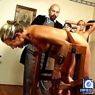 Beautiful Blonde tied over a bench for a brutal caning